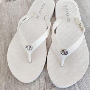 Coach Abbigail white flip flops